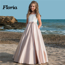Нарядные платья для девочек, держащих букет невесты на свадьбе; Vestidos daminha; Детские вечерние платья для торжеств с бантом; платья для первого причастия для девочек