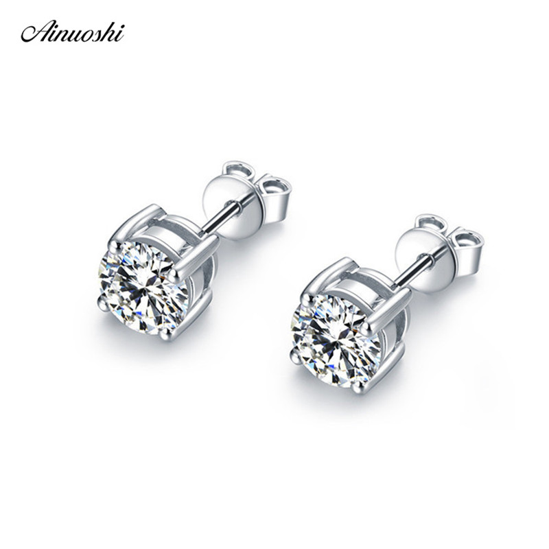 3-8mm New Classic Round Cut SONA Simulated Diamond Earring 925 Sterling Silver Stud Earrings Wedding Jewelry Earrings Women