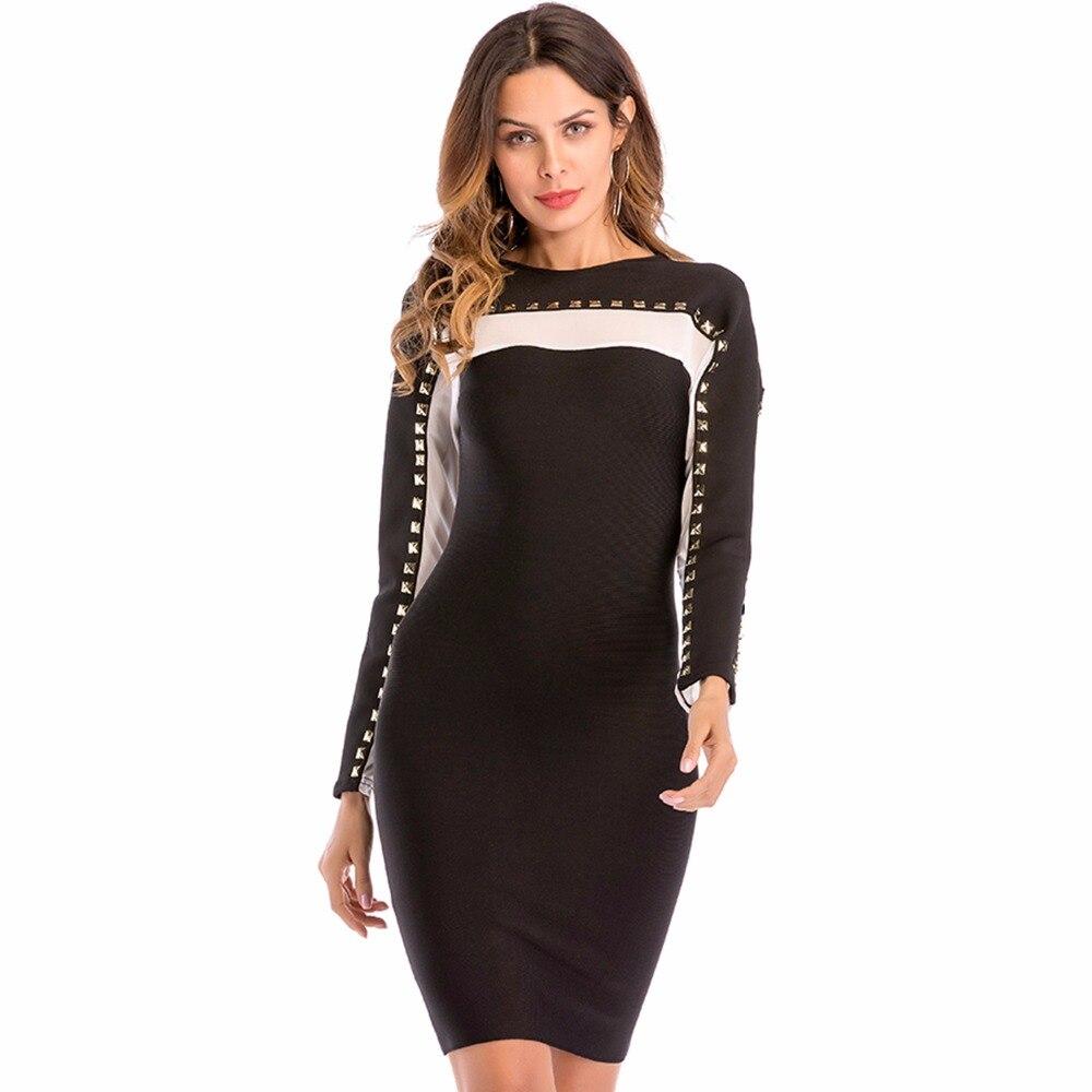 2018 nouveau moulante femmes robe noir blanc Rivet Sexy dame soirée rayonne robes tenue de club décontracté robes