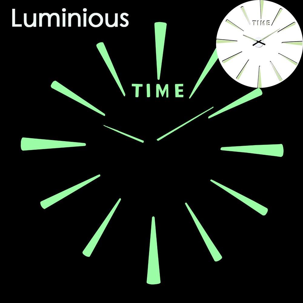 Luminous New Arrival Quartz Clocks Fashion Watch 3d Real Large Wall Clock Rushed Mirror Sticker Diy Living Room Decor