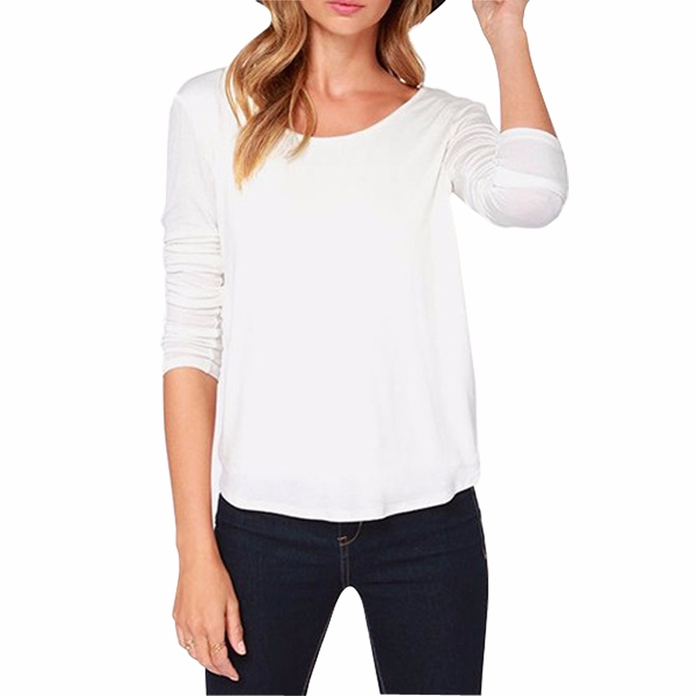 New Long Sleeve Cotton T Shirt Women Clothing O Neck Sexy Backless Casual Blusas Femininas Tops Plus Size S-XL