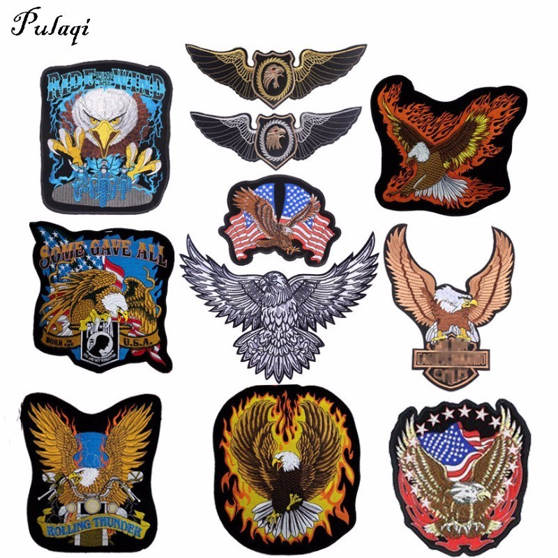 Pulaqi Embroidered Biker Patches For Jeans Men Jacket Clothing Punk Style Eagle Military ACDC Patch Stickers On Motorcycle B ...