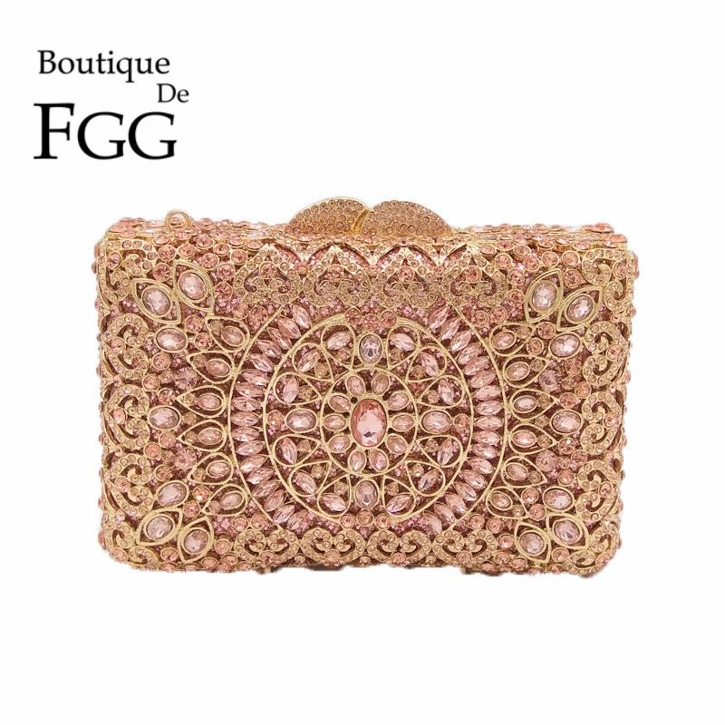 Champagne Pink Crystal Diamond Women Metal Evening Clutch Bags Hardcase Bridal Box Handbag Purse Wedding Party Minaudiere Bag