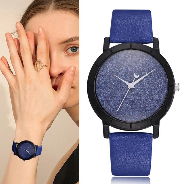 Women Bracelet Leather Strap Watch Blue Starry Sky Ladies Sport Wristwatch Fanta