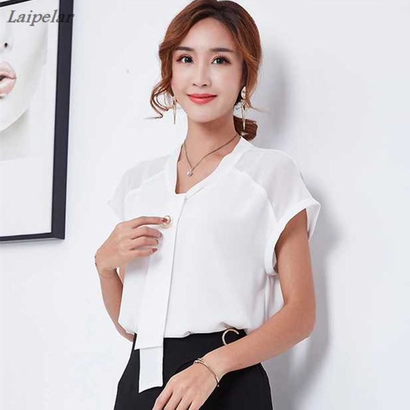 Fashion Bow Collar Short Sleeve Women Blouses 2018 Shirt White Solid Color Elegant Slim Chiffon Blouse Office Ladies Formal Tops in Blouses amp Shirts from Women 39 s Clothing