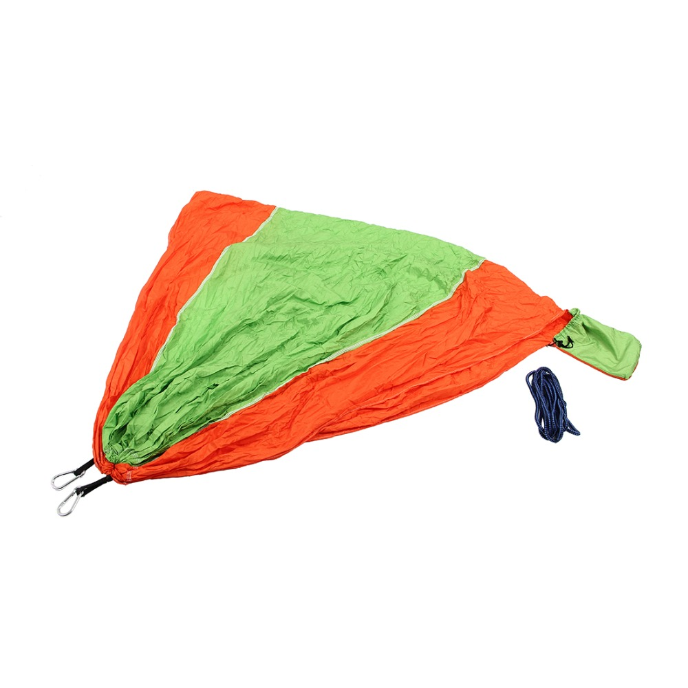 2 People Portable Parachute Hammock for outdoor CampingFruit green with orange side 270*140 cm2 People Portable Parachute Hammock for outdoor CampingFruit green with orange side 270*140 cm