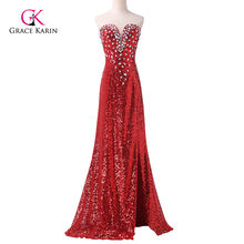 Sexy Evening Dress Grace Karin Red Sparkling Slit Mermaid Prom Dress Long Sequins  Formal Evening Gowns Celebrity Dresses 6102 bfdef8cc1f71