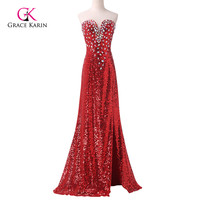 Newly Dazzling Sexy Grace Karin Red Sparkling Slit Prom Dress Long Sheath Formal Sequins Evening Gowns