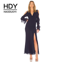 HDY Haoduoyi Brand Women Blue Bohemian Dresses Hollow Out Split Side Butterfly Sleeve Cold Shoulder V