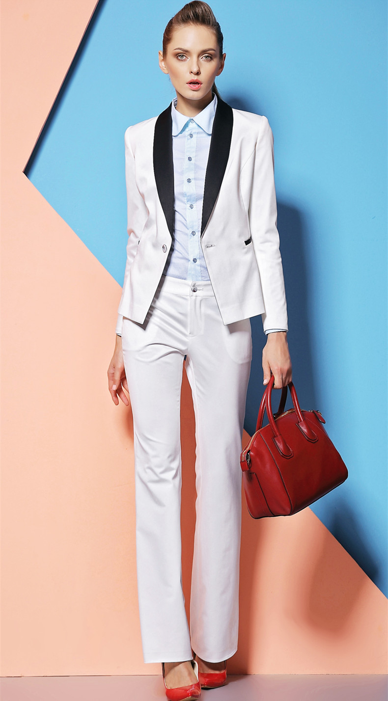 Aliexpress.com  Buy 2015 New Elegant Custom Made White Formal Women Pants Suits For Office ...