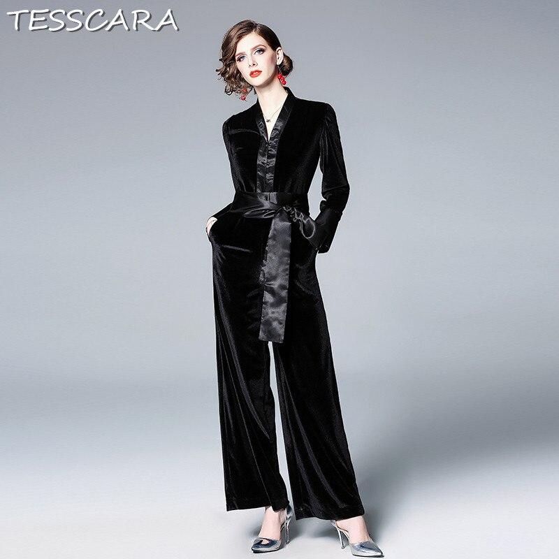 Jumpsuits Tesscara Women Elegant Velvet Jumpsuit New Fashion Office Jumpsuits & Rompers Female Overalls Bodysuit Romper Womens Coveralls