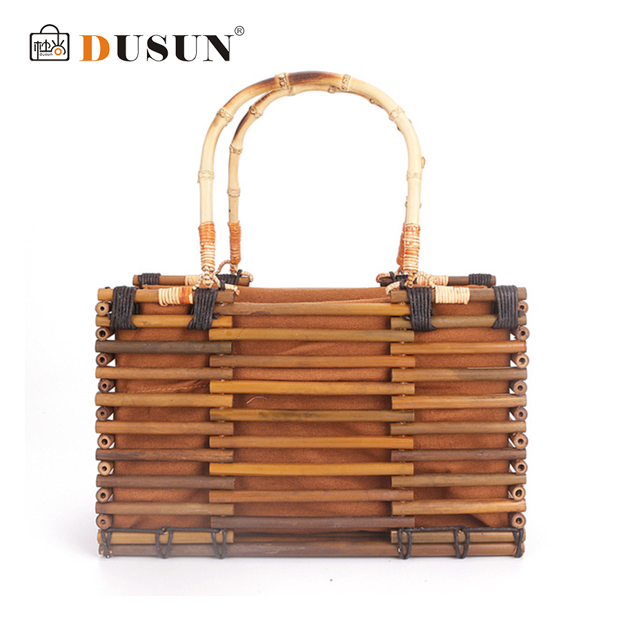DUSUN Vintage Bamboo Handbag Travel Vacation Totes For Female Designer Handmade Woven Straw Lady Beach Bag Summer Women's Purse цены