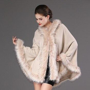 2018 Autumn Winter Women's knit Cape Shawl Coat Hooded Top Faux raccoon fur edge Cardigan Cloak Loose Female Sweaters OKXGNZ2057 2