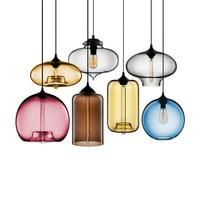 Colorful Clear Glass Modern Light Pendant for Dining Room Bar Coffee Living Room Restaurant Lamps Decor E27 Holder Metal Base
