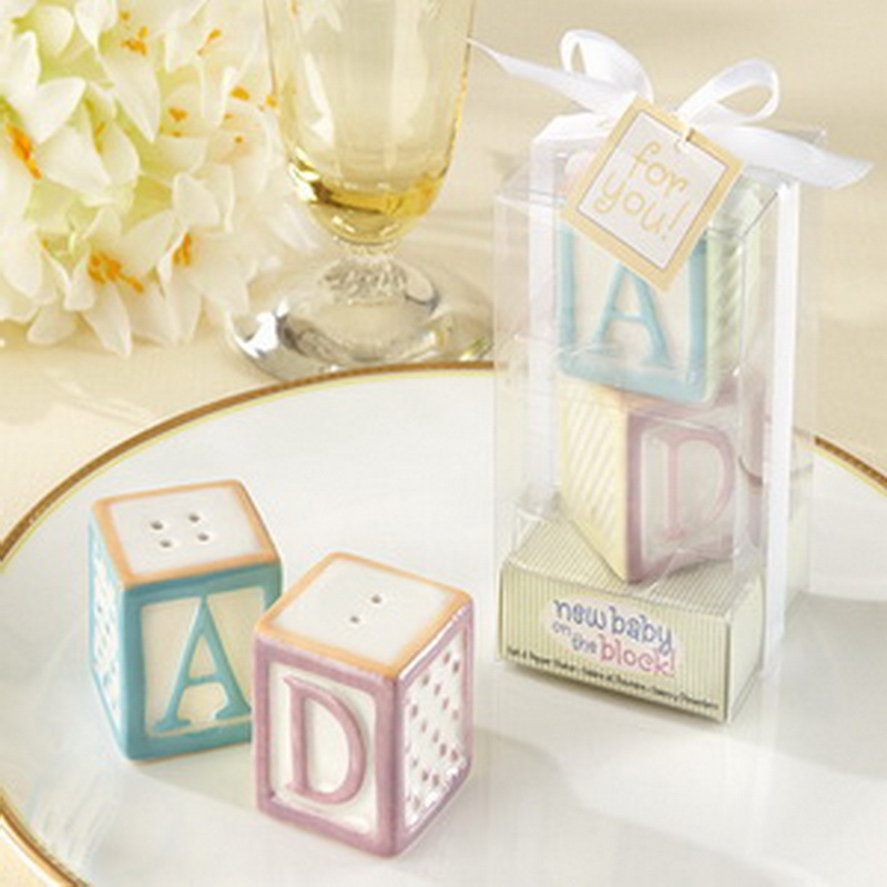 200pcs=100Boxes/Lot+New Baby on the Block Ceramic Letter ABC Salt and Pepper Shakers Wedding&Baby Party Favors+FREE SHIPPING