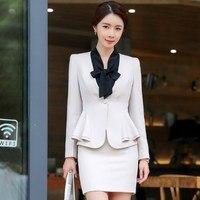 Plus Size Womens Work Skirt Suit Women 2 Piece Office Pencil Skirt Suits Elegant Ladies Designer Blazer with Mini Skirt 4XL