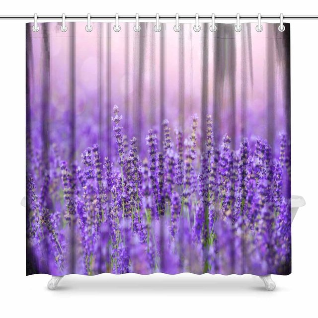 Aplysia Sunset Over Violet Lavender Field In Provence Hokkaido Bathroom Shower Curtain Accessories 72W X 72L