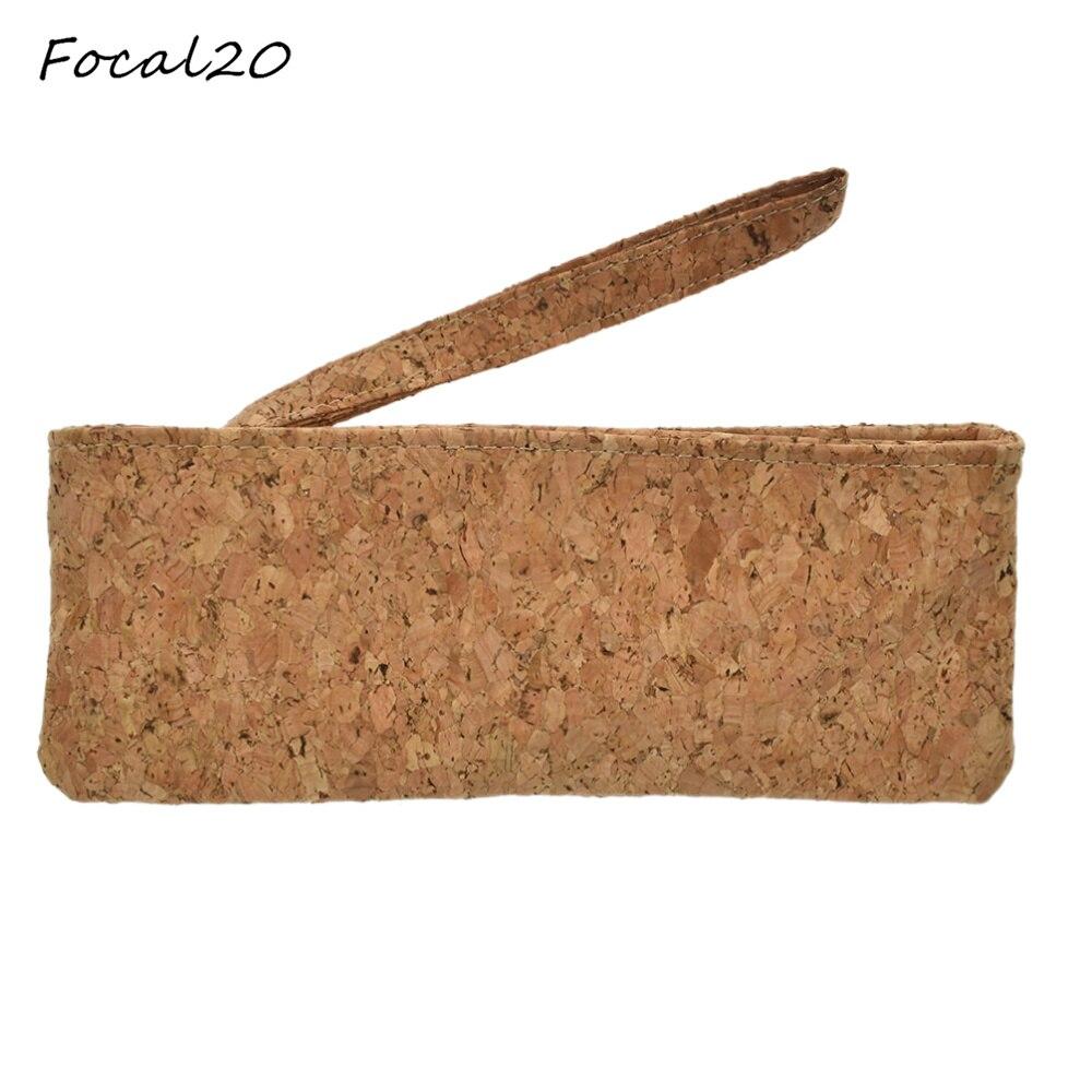 Focal20 Brand New Natural Cork Brown Color Women Girls Handbag Zipper Wallet Purse Party Banquet Vintage Evening Bag