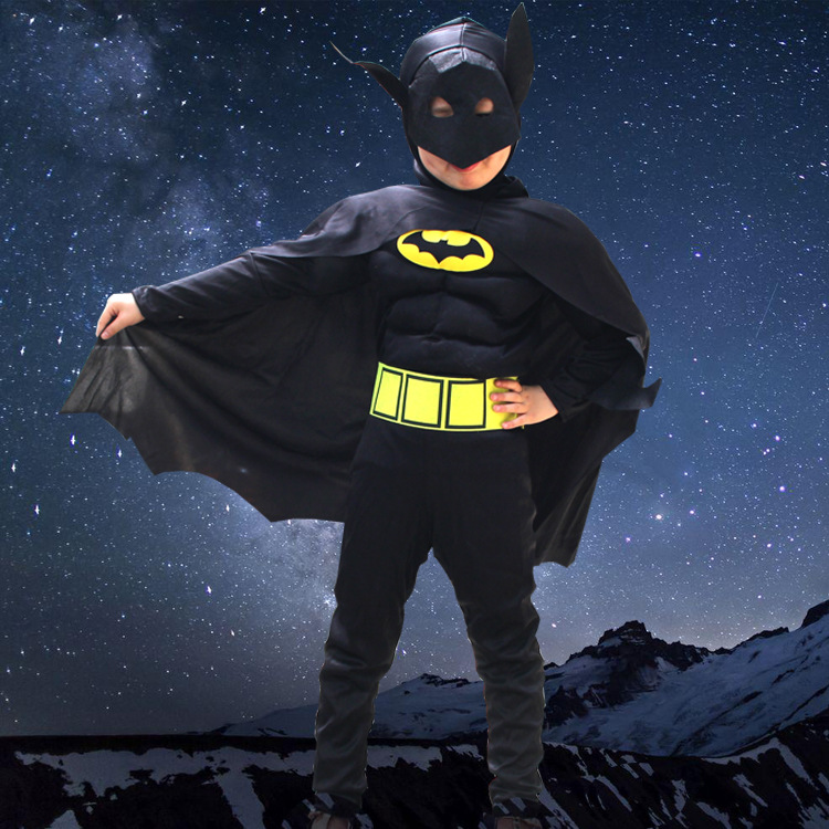 Wonderful Kid Boys Batman Comic Superhero Movie Characters Cosplay Fancy Dress Child Halloween  Party Costumes Black With Cloak