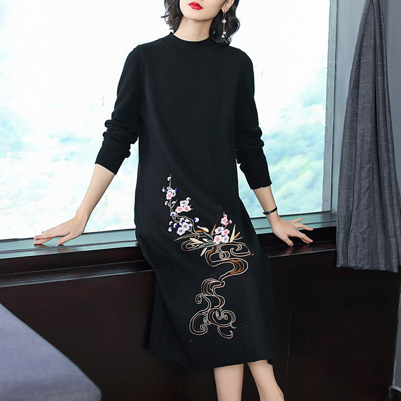 Plus Schwarzrot Marke Floral Wadenlangen Frauen Top Gre Warme Qualit Stickereirmellose Strickkleid t Pullover Pullover Xxl nwP08kXO