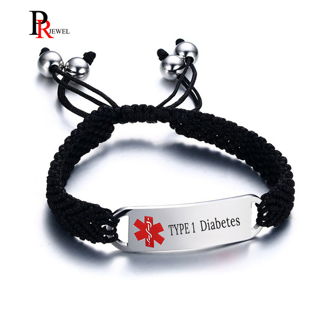 US $7 14 45% OFF|Stainless Steel Medical Alert ID Bracelets for Boys Black  Nylon Rope Hand Braided Bracelet Free Engraving-in ID Bracelets from