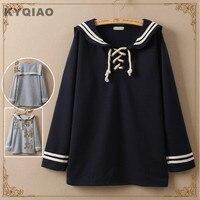 Mori Girls Japanese Style Long Sleeve Sailor Collar Stripe T Shirt Women Pullover Female Autumn Spring