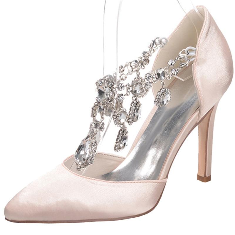 LOSLANDIFEN Women Rhinestone Pendant Ankle Strap Wedding Shoes 8CM High  Heels Satin Silk Pointed Toe Crystal Bridal Shoes a430f0775077