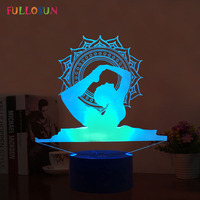 Yoga 3D Night Lights 7 Color Change 3D Touch Table Lamp Creative Gift As Home Decoration
