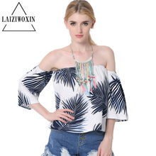 Halter tops The new all-match collar Strapless tops seven point sleeve cotton print T-shirt blouse sun-top