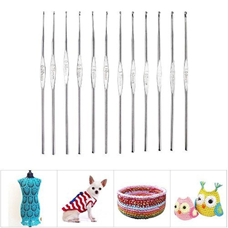 Looen 12pcsset Small Size Crochet Hooks Set Mix Sizes 0.6-1.9mm Knitting Needles For Yarn Weave Tools Lace Crochet Needles Set (3)