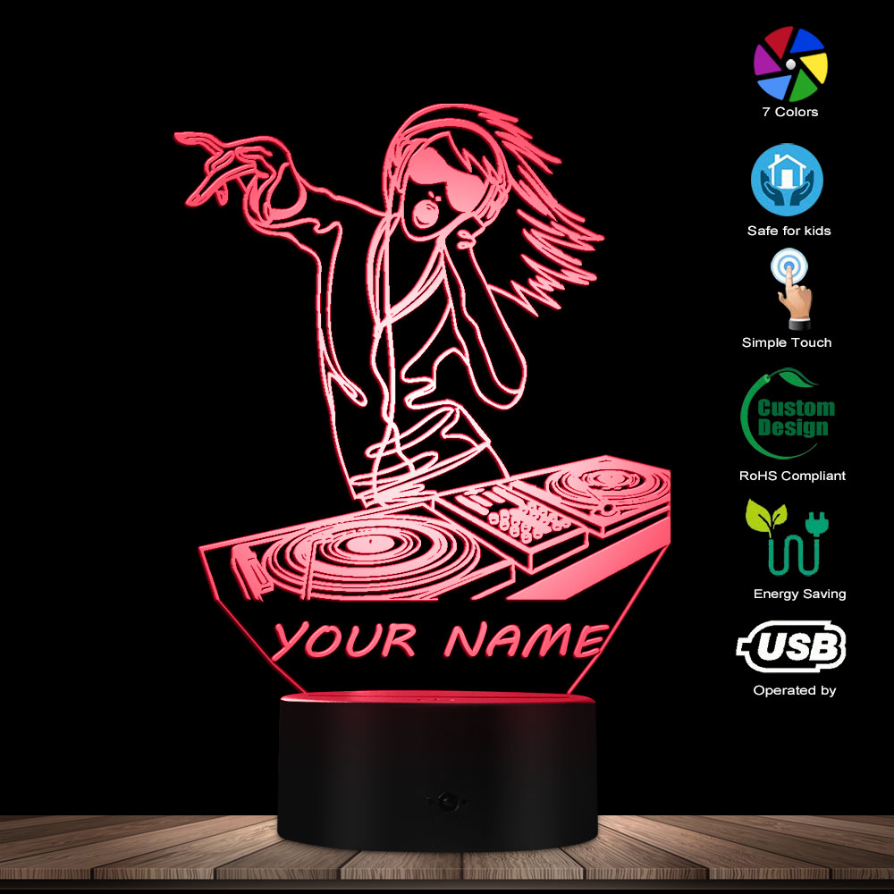 Female Sexy DJ Lady Custom 3D Night Light DJ Headphone Music Girl 3D Glowing Led Lamp W/ Personalised Name DJ Lighting Art Gift