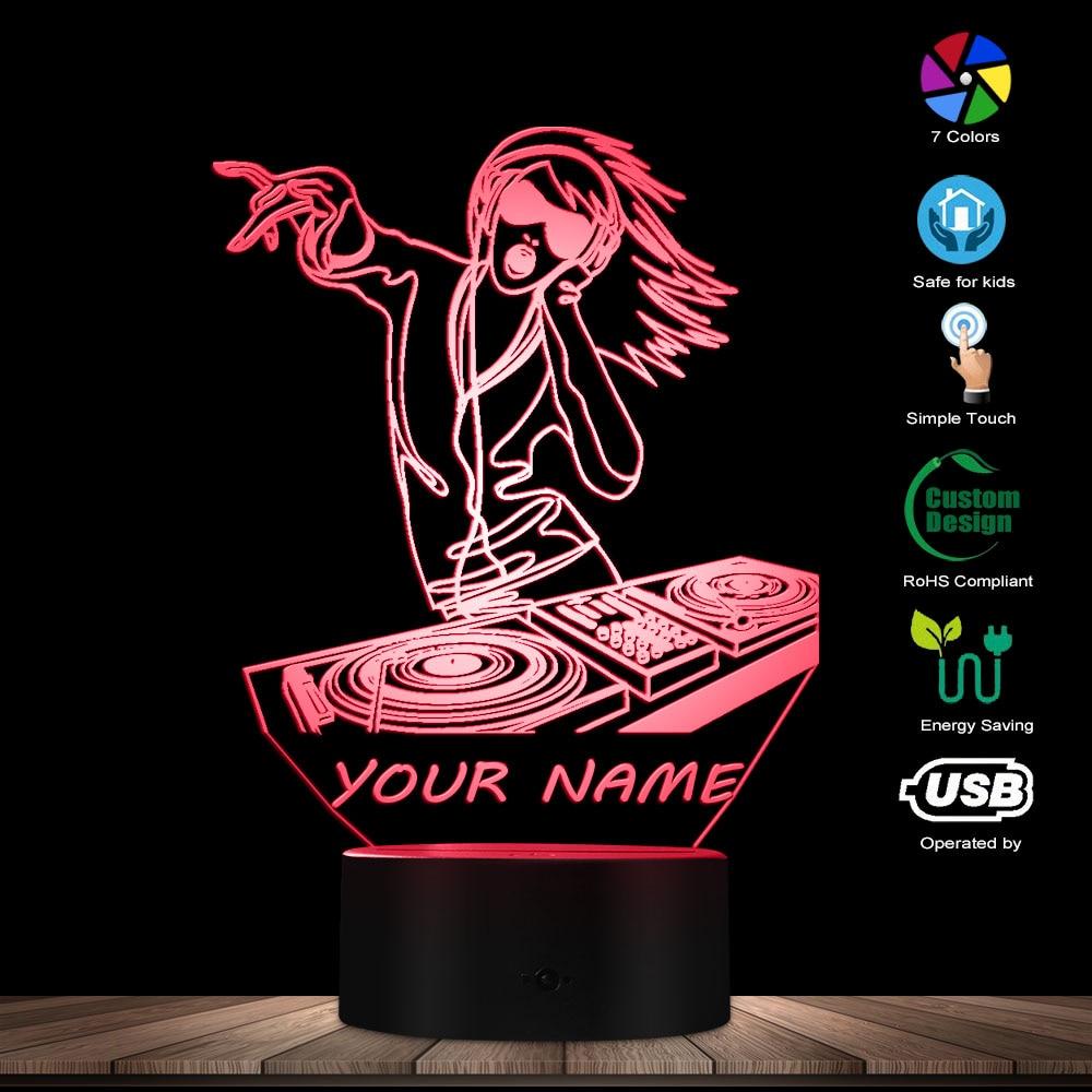 Female Sexy DJ Lady Custom 3D Night Light DJ Headphone Music Girl 3D Glowing Led Lamp W/ Personalised Name DJ Lighting Art Gift
