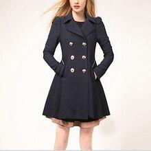 Fashion Women Turn-down Collar Double Breasted Skirt woollen cloth coat Long woolen coat Jacket