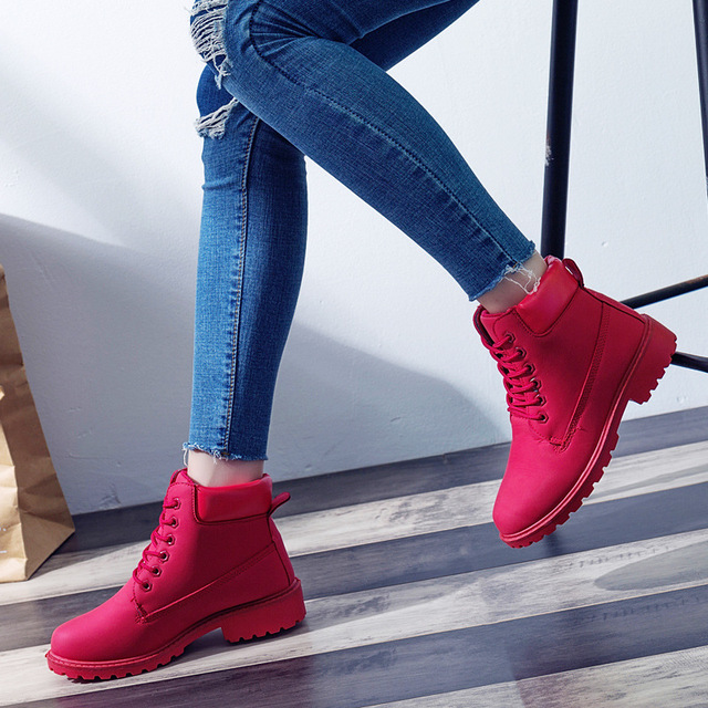 26ded1d77 2019 Women's Winter Fur Shoes Brand Martin Boots Women Cute red Boots  Quality Work Boots Flat Heel Ankle Boots for Women549