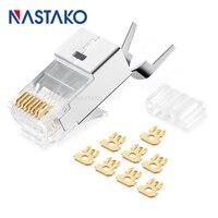 NASTAKO 50 100pcs Cat6a RJ45 Connector Cat 6a Crystal Plug Shielded FTP RJ45 Modular Connectors Cat6e