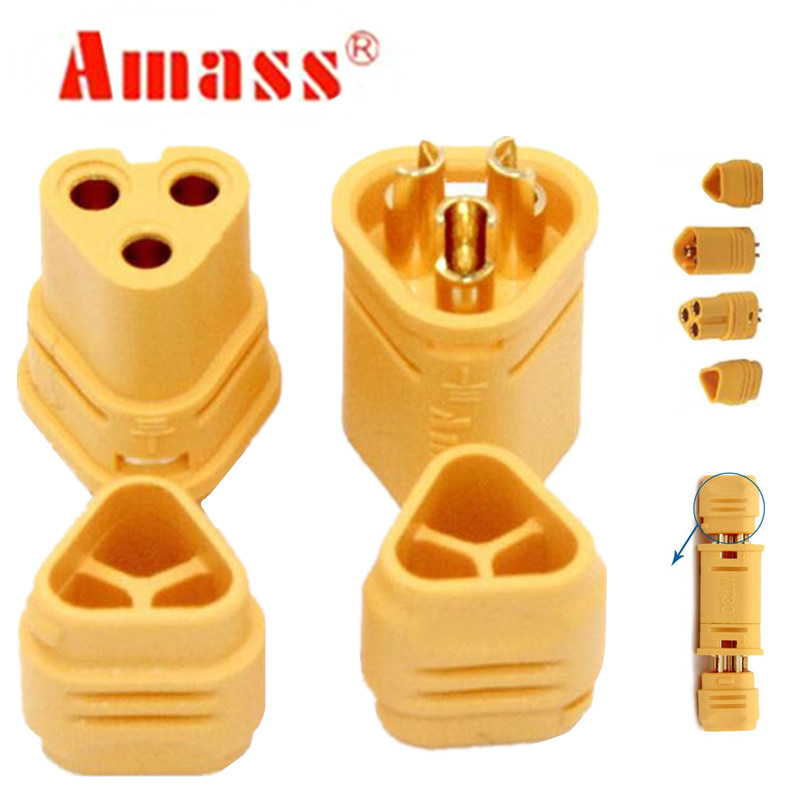 100pair AMASSMT30 Connector 2mm 3 Pin Male and Female Motor Connector Plug Set for RC Model