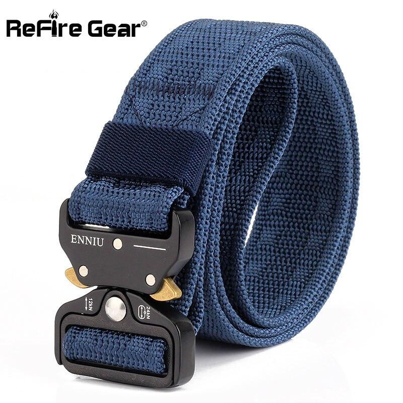 ReFire Gear New Heavy Duty Tactical Military Belt Men SWAT Quick Release Combat Army Belt Thick Metal Buckle Webbing Nylon Belts