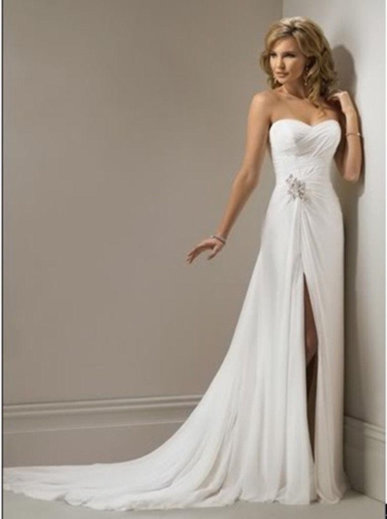 Vestidos de novia chiffon beach wedding dress vintage boho for Wedding dress in stock