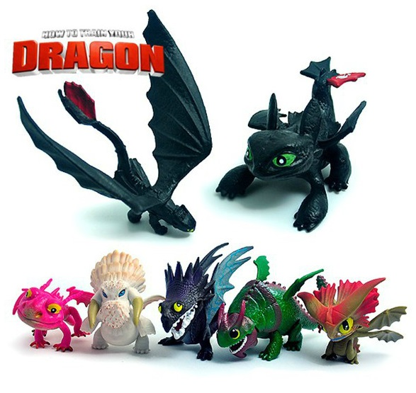 7pcs/set Anime How To Train Your Dragon 2 Action Figure Toys Night Fury Toothless Dragon PVC Figures Toys for Boys how to train your dragon 2 dragon toothless night fury action figure pvc doll 4 styles 25 37cm free shipping retail