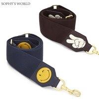 Cartoon Emoji Women Bag Strap Wide Canvas Shoulder Strap Bag Soild Color Accessories Strap Belts For