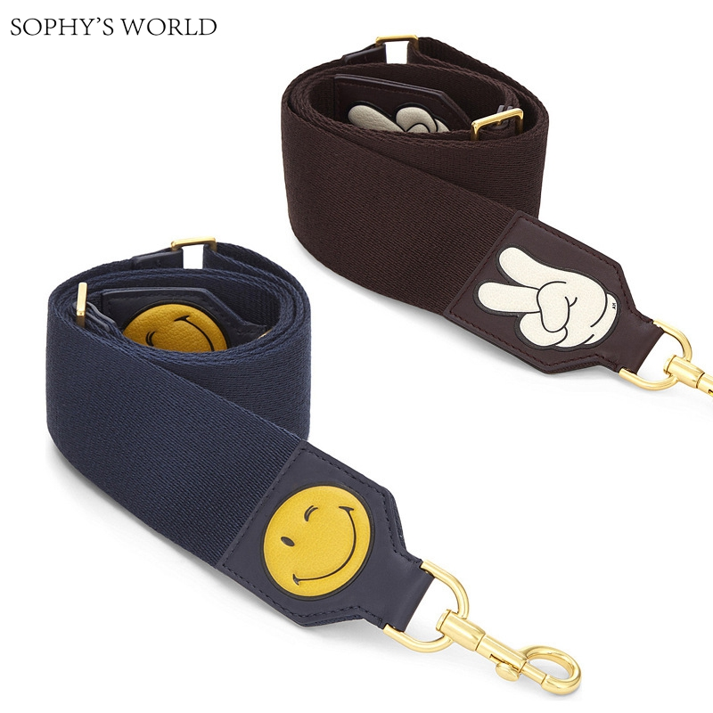 Cartoon Emoji Women Bag Strap Wide Canvas Shoulder Strap bag Soild Color Accessories Strap Belts For Women Handbag