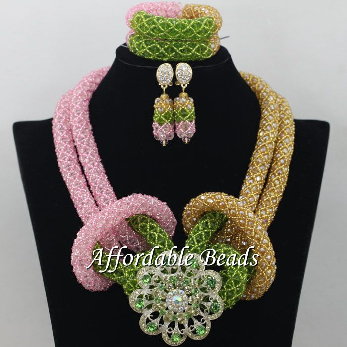 Popular African Dubai Jewelry Sets Nice Wedding Beads Set Handmade Item Wholesale Free Shipping NCD021 luxury african dubai jewelry sets hot wedding beads set handmade item wholesale free shipping ncd022