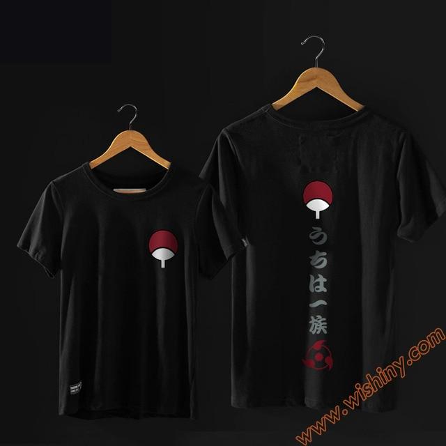 Cool Naruto T-shirt noir blanc à manches courtes Anime Uchiha T-shirt Animation hommes femmes T-shirt pour les jeunes