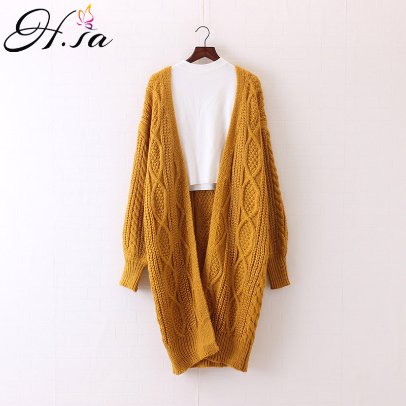 H SA 2017 Women Long Cardigans Autumn Winter Open Stitch Poncho Knitting Sweater Cardigans V neck