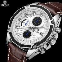 Genuine megir maschile quarzo orologi cuoio genuino orologi da corsa degli uomini studenti gioco run cronografo orologio maschile glow mani
