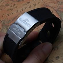 Новое Прибытие 2015 Водонепроницаемый Черный Силиконовой Резины WatchWrist смотреть Ремешок Ремешок 24 мм с безопасности пряжки Развертывания