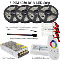 20m 15m 10m 5m 24V RGB LED Strip 5050 Waterproof Full kit + RF Touch Remote + Power adapter + Amplifier Free shipping