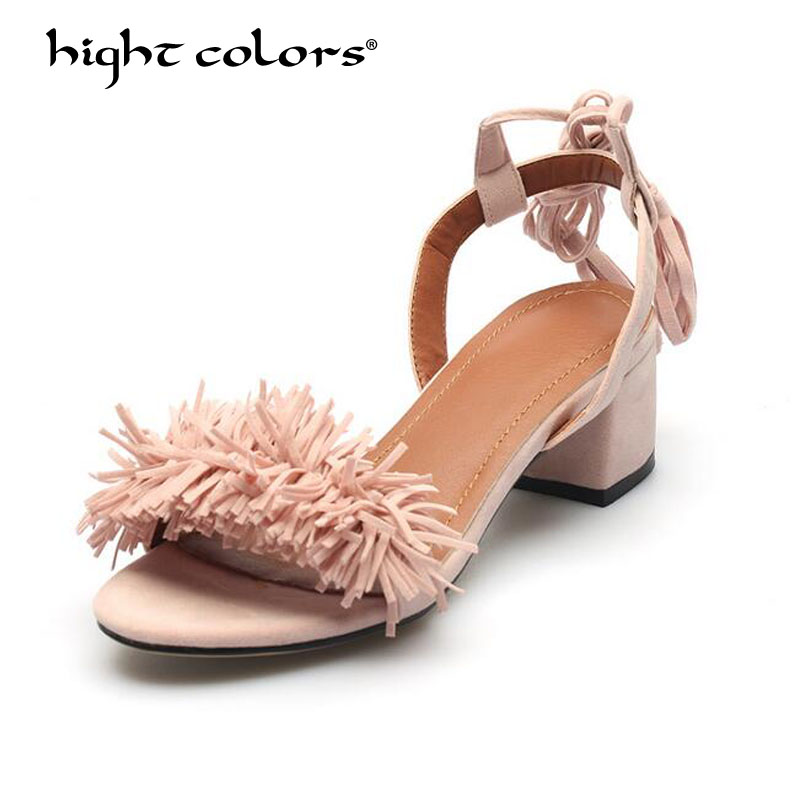 Fringe Thick Heel Sandals Womens Shoes Summer Adult Lace-Up Charm Slingbacks Fashion Ladies Sandles Woman Size 32-43 Pink Red ...