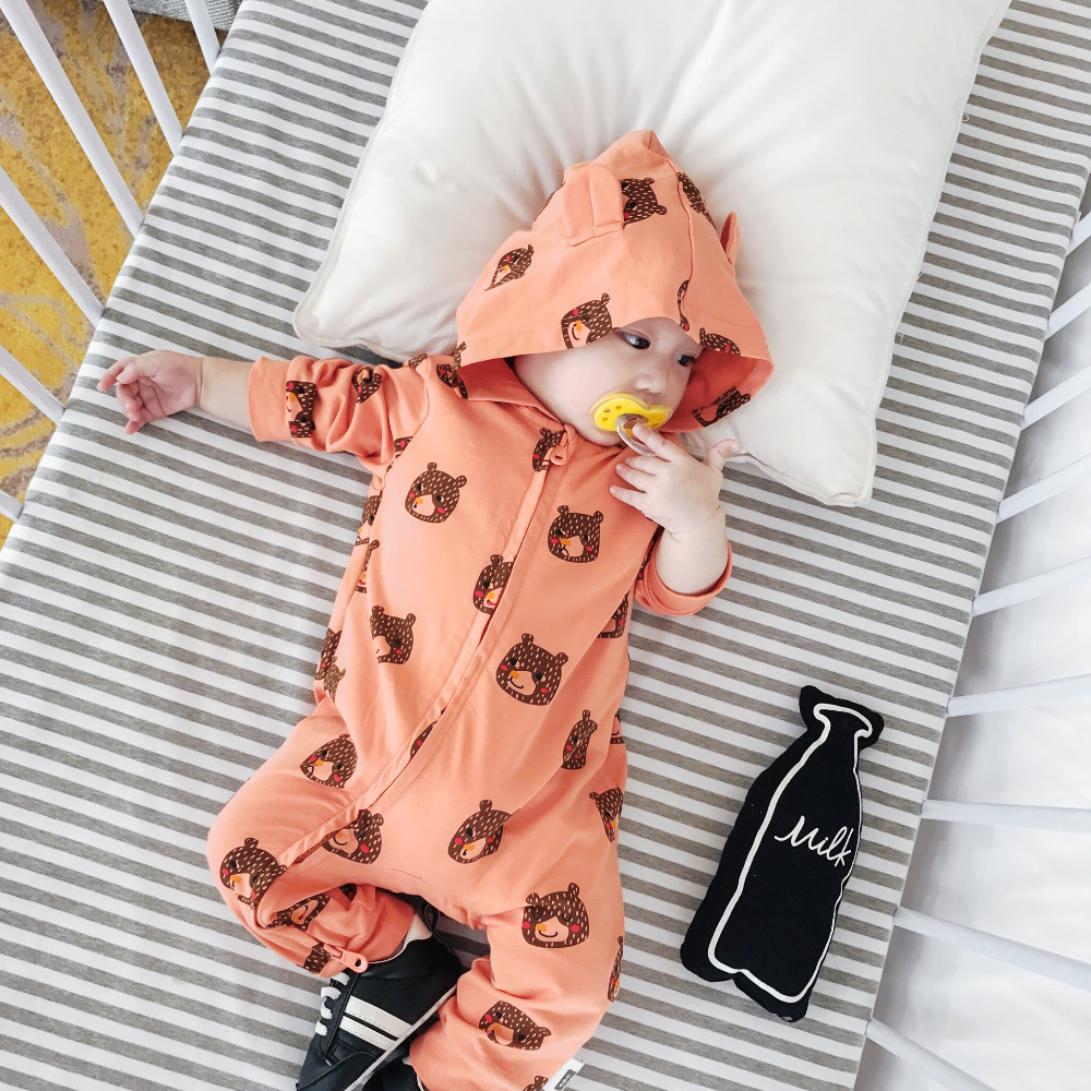 Infant Baby Fall Rompers Hooded Long Sleeve Cotton Boys Jumpsuit Cute Bear 1st New Girls Overalls Children Sunsuits Kids Clothes 2016 new newborn baby boys girls clothes rompers cotton tracksuit boys girls jumpsuit bebes infant long sleeve clothing overalls