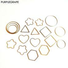 PURPLEGRAPE DIY Handmade Jewelry Accessories Geometric Alloy Earrings Women's Girls Gold and Silver Earrings Material 20pcs